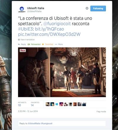 Tweet di Ubisoft - Fuorigio.co