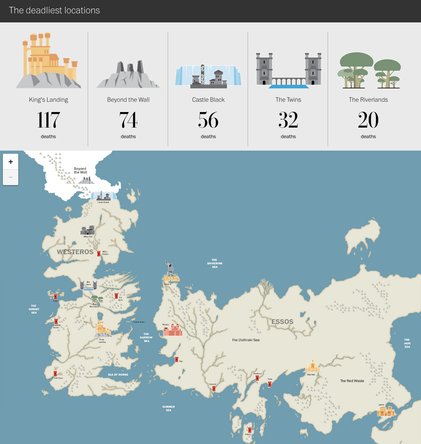 Valar Morghulis - Game of Thrones - infografica - mappa