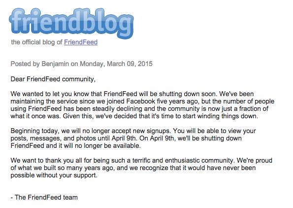 Annuncio chiusura FriendFeed