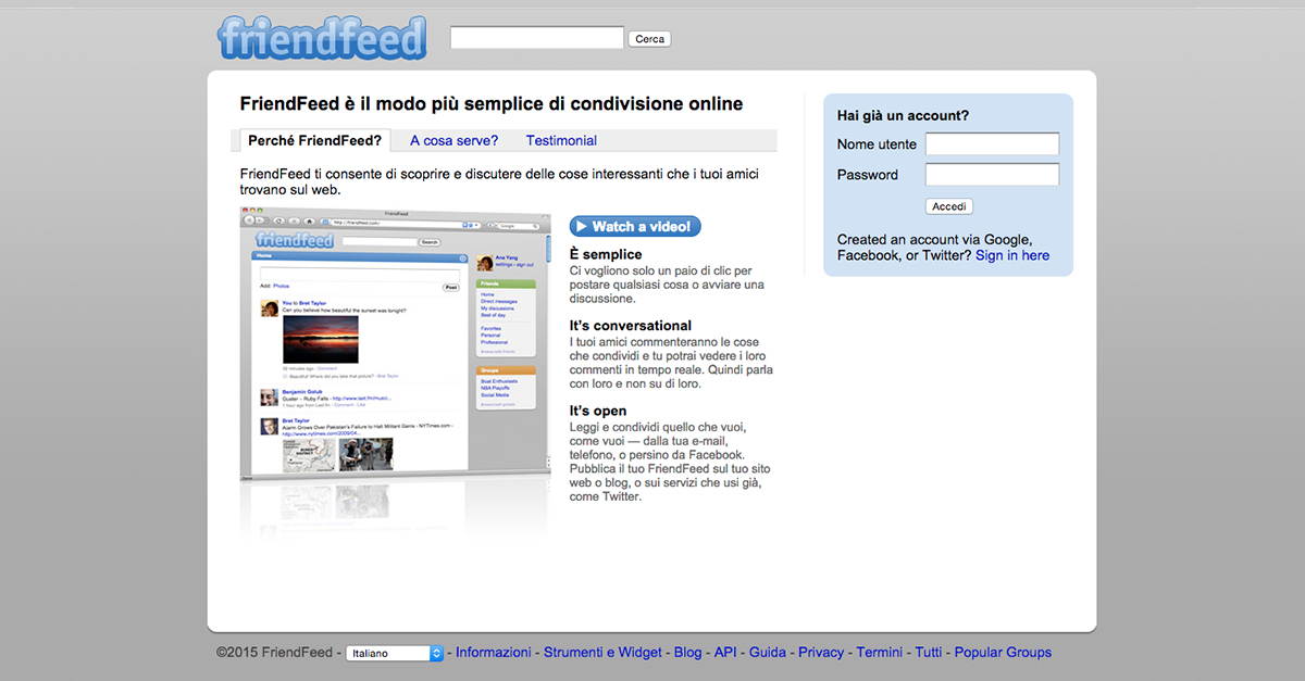 home page di FriendFeed