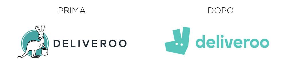Deliveroo, nuova identity: logo prima e dopo